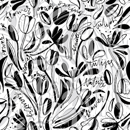 Vintage floral hand drawn seamless pattern. Hand drawn abstract fancy flowers. Folk painting style. Summer blooming ornament. Monochrome background. Repeatable backdrop.