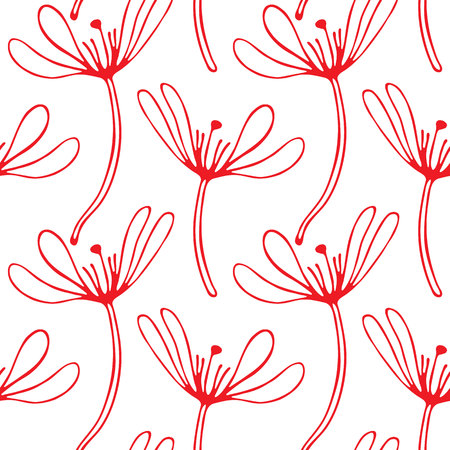 Vintage floral hand drawn seamless pattern, abstract fancy flowers. Folk painting style. Summer blooming ornament. Repeatable backdrop. Illustration
