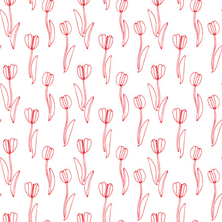 Vintage floral hand drawn seamless pattern with abstract fancy flowers. Folk painting style. Summer blooming ornament. Repeatable backdrop.