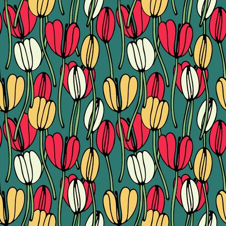Vintage floral hand drawn seamless pattern. Hand drawn abstract fancy flowers. Folk painting style. Summer blooming ornament. Colorful background. Repeatable backdrop. Vectores