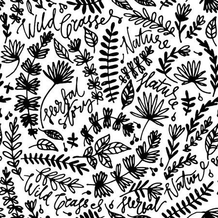 Floral hand drawn seamless pattern. Hand drawn abstract fancy flowers. Folk painting style. Summer ornament. Monochrome background. Repeatable backdrop.