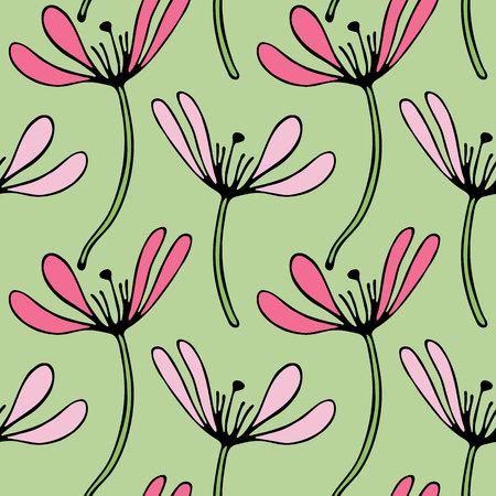 Vintage floral hand drawn seamless pattern abstract fancy flowers. Folk painting style. Summer blooming ornament. Colorful background. Repeatable backdrop.