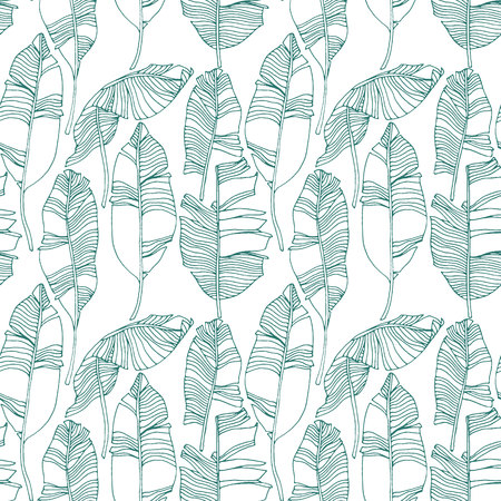 Tropical leaves, jungle pattern. Seamless, detailed, botanical pattern. Vector background. Vectores