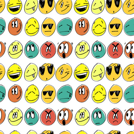 Seamless pattern with coloful emoticons.