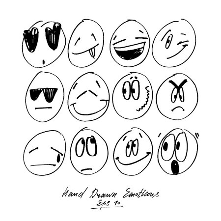 Collection of freehand drawing emoticons. Stylised emotions. Set of hand drawn feeling signs.