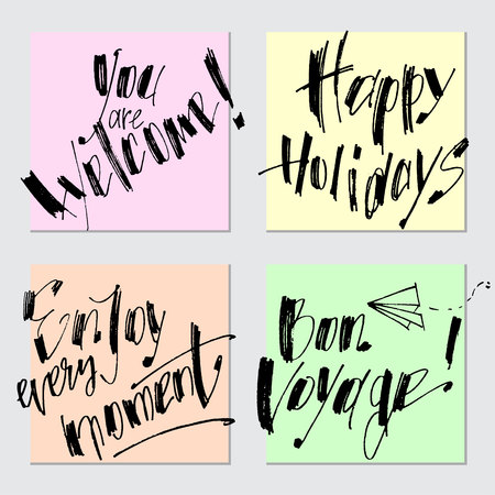 Modern hand drawn calligraphy. Typography poster designs. Lettering for print and posters. Set of greeting cards with calligraphy. Vectores