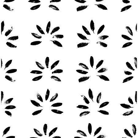 Abstract seamless hand drawn pattern. Modern grunge texture with botanical motif. Monochrome brush painted background.
