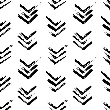 Abstract geometric seamless hand drawn pattern. Modern grunge texture. Monochrome brush painted background.