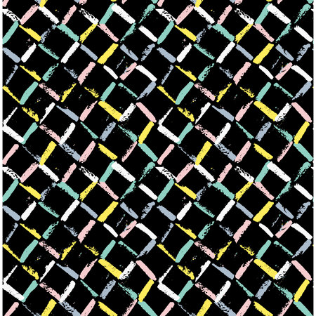 Abstract geometric seamless hand drawn pattern. Modern grunge texture. Colorful brush painted background.