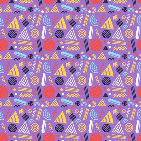 Vector seamless pattern with abstract geometric shapes and lines. 80s-90s memphis style design. Ethnic hipster backdrop. Wallpaper, cloth design, fabric, paper, cover, textile.