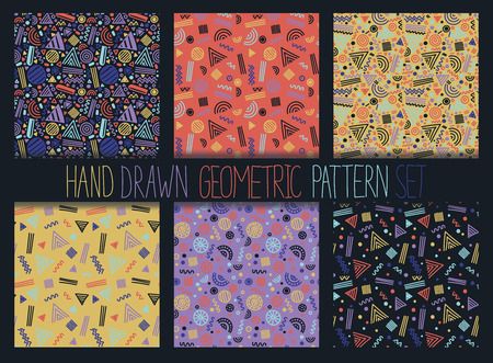 Vector seamless pattern set. Abstract geometric backgrounds with shapes and lines. 80s-90s memphis style design collection. Wallpaper, cloth design, fabric, paper, cover, textile.