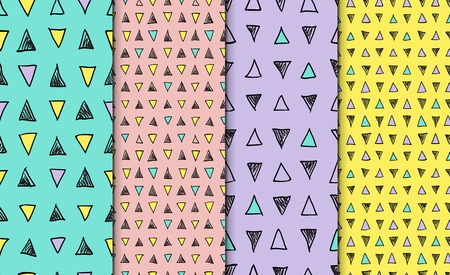 Abstract geometric seamless hand drawn pattern set. Modern free hand textures. Colorful geometric doodle backgrounds. Foto de archivo