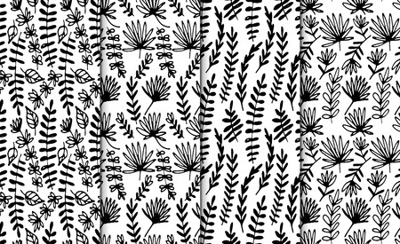 Floral hand drawn seamless pattern set. Hand drawn abstract fancy flowers. Folk hand drawn style. Summer ornament. Monochrome background. Repeatable backdrop.