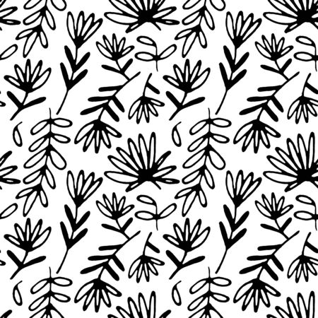 Floral hand drawn seamless pattern. Hand drawn abstract fancy flowers. Folk hand drawn style. Summer ornament. Monochrome background. Repeatable backdrop.