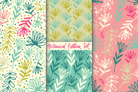 Floral hand drawn seamless pattern set. Hand drawn abstract fancy leaves and grasses. Folk hand drawn style. Summer ornament. Colorful background. Repeatable backdrop.