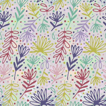 Floral hand drawn seamless pattern. Hand drawn abstract fancy leaves, flowers and grasses. Folk hand drawn style. Summer ornament. Colorful background. Repeatable backdrop.