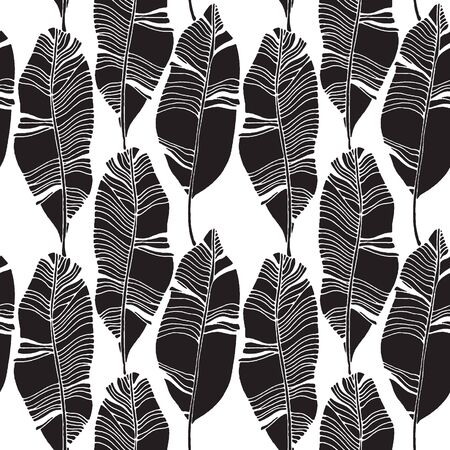 Tropical leaves, jungle pattern. Seamless, detailed botanical pattern with leaves. Vector background Vectores