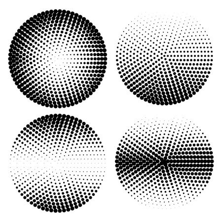 Set of halftone dots vector circle shapes. Abstract dotted stippling shapes. Monochrome halftone gradient circle set.