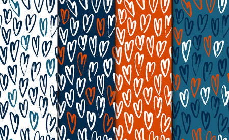 Abstract seamless hand drawn pattern set with hearts. Modern free hand textures. Colorful minimalistic doodle backgrounds.