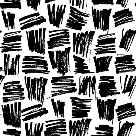 Abstract geometric seamless hand drawn pattern. Modern grunge texture. Monochrome marker painted background.