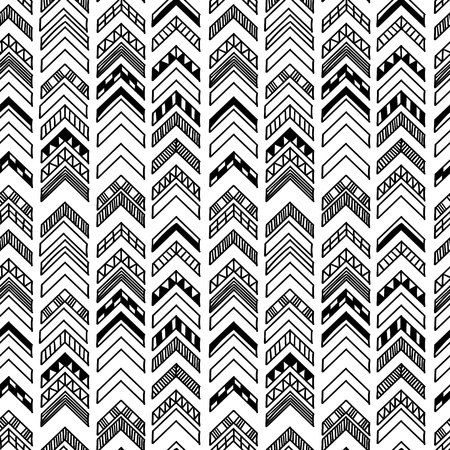 Abstract geometric seamless hand drawn pattern with tribal motifs. Modern texture. Monochrome free hand background.