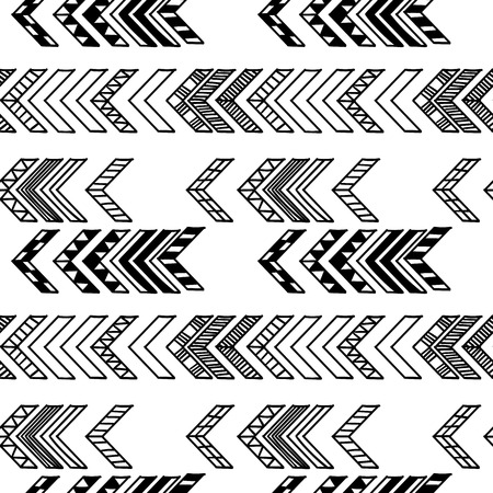 Abstract geometric seamless hand drawn pattern with tribal motifs. Modern texture. Monochrome outlined background.