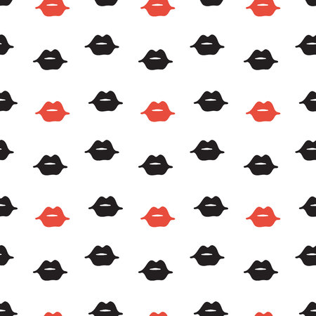 Vector hand drawn seamless pattern with lips. Abstract fashion background. Colorful texture.