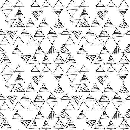 Abstract geometric seamless hand drawn pattern. Modern free hand texture. Colorful geometric doodle background. Outlined hand drawn tribal motif. Vectores