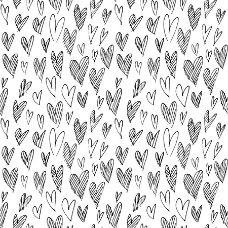 Pattern with hand drawn hearts. Sketchy background. Seamless hand drawn by thin liner background. Romantic symbols for love greeting valentines elements.