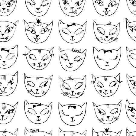 Pattern with hand drawn cats heads. Sketchy background. Seamless hand drawn by thin liner background.