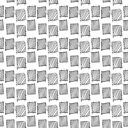 Abstract geometric seamless hand drawn pattern. Modern free hand texture. Monochrome geometric doodle background. Outlined hand drawn geometric motif.