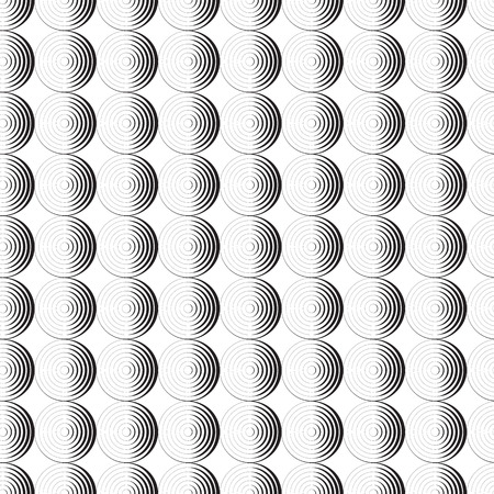 Seamless pattern background ornament of striped concentric circles. Retro mosaic of arches in black and white. Vector design element.
