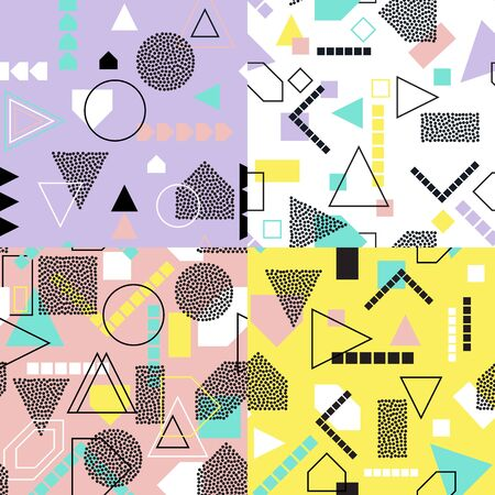 Abstract geometric seamless pattern set. Modern textures. Colorful geometric backgrounds.