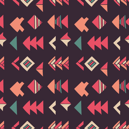 Abstract geometric seamless hand drawn pattern with tribal motifs. Modern texture. Colorful free hand background.