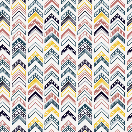 Abstract geometric seamless hand drawn pattern with tribal motifs. Modern texture. Colorful outlined background.