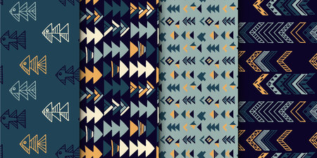Abstract geometric seamless hand drawn pattern set with tribal motifs. Modern textures. Colorful free hand backgrounds.