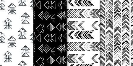 Abstract geometric seamless hand drawn pattern set with tribal motifs. Modern textures. Monochrome backgrounds.