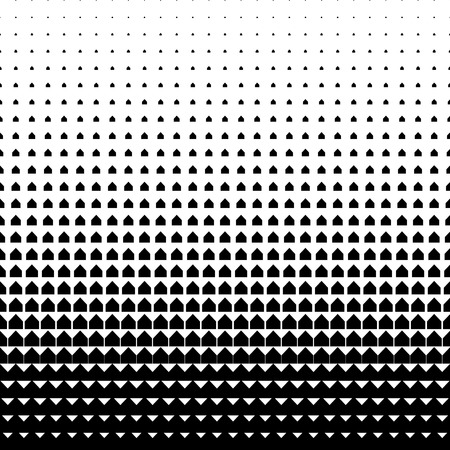Vector geometric halftone background. Backdrop with arrow shapes gradually placed by size increasing. Minimalistic texture.