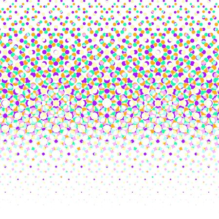 Vector geometric halftone background. Backdrop with circle shapes different color overlapping. Vectores