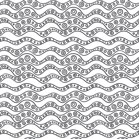 Vector seamless wavy line pattern. Graphic texture. Hand drawn background. Vectores