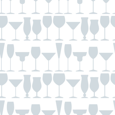 Abstract colorful cocktail and wine glass seamless pattern. Concept for bar menu, party, alcohol drinks, celebration holidays, wine list. Creative flat design. Vector background with drink glasses.