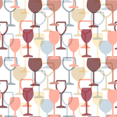 Abstract colorful cocktail and wine glass seamless pattern. Concept for bar menu, party, alcohol drinks, celebration holidays, wine list. Vector background with drink glasses.