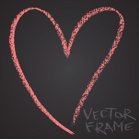 Marco dibujado con un crayón. Cera de cera forma vacía. Imagen LVector del marco de trazo dibujado a mano. Corazón rosado perfiló la forma. Foto de archivo - 85640699