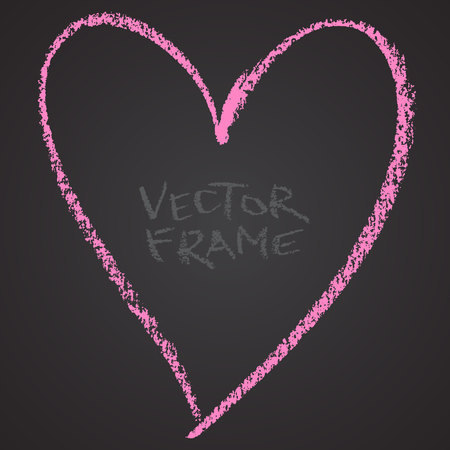 Frame drawn with a crayon. Wax crayon empty shape. LVector image of hand drawn stroke frame. Pink heart outlined shape.