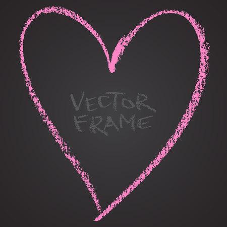 Marco dibujado con un crayón. Cera de cera forma vacía. Imagen LVector del marco de trazo dibujado a mano. Corazón rosado perfiló la forma. Foto de archivo - 85640700