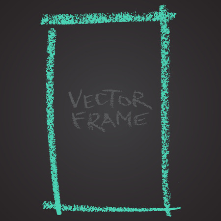 Frame drawn with a crayon. Wax crayon empty shape. LVector image of hand drawn stroke frame. Green square outlined shape.