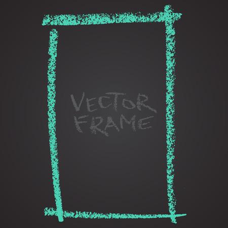 Marco dibujado con un lápiz de color. Crayón de cera forma vacía. Imagen de vector de marco de trazo dibujado a mano. Cuadrado verde con forma esbozada. Foto de archivo - 85640701