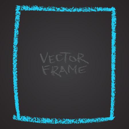 Marco dibujado con un crayón. Forma vacía del crayón de cera. Vector de la imagen del marco de trazo dibujado a mano. Azul sguare contorneada forma. Foto de archivo - 85640704