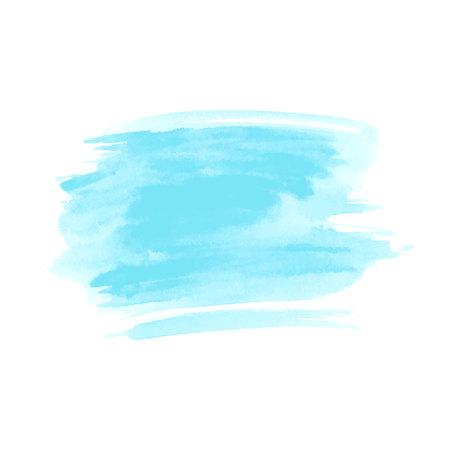 Blue hand drawn watercolor brush stroke.