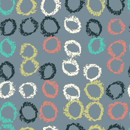 Pattern of circles hand drawn vector sketch. Seamless background hand drawn by wax crayon. Naive doodle backdrop.